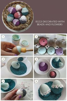 Eggs decoration with beads and flowers. Egg Crafts, Easter Crafts, Diy And Crafts, Crafts For Kids, Felt Christmas Decorations, Christmas Crafts, Carnival Crafts, Easter Egg Designs, Easter Gift Baskets