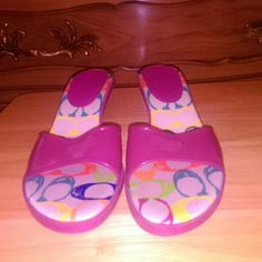 Coach kitten heel jelly sandals Pink kitten heel jelly sandals as seen in pic 3 or 4 on one of the heel is too small black tiny scuff these are used but in pretty good condition Coach Shoes Sandals