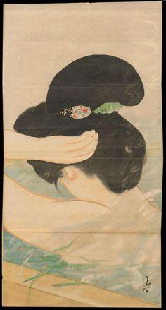 Kiyokata, Kaburagi (1886-1972) - Bijin Having a Bath