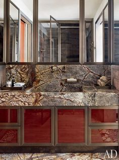 Steven Gambrel Designs a Robustly Chic Zurich Mansion - the rainforest marble is stunning