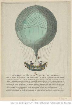 Aërostat de 30 pieds, 3 pouces de diamètre, elevé à Nantes le 14 juin 1784 a 6 heures 30 min. du soir. On la perdu de vue en 38 minuttes  -estampe]