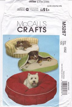 FF McCalls Crafts 5287 Dog Pet Bed Sewing Pattern 3 Dog Bed