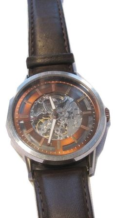 Kenneth Cole KC1718  Men's Automatic Brown Leather Band Skeleton Dial Watch $150 #KennethCole #Fashion