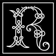Celtic Knot-work Capital Letter R