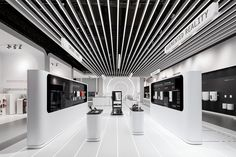 Dart stages the fair appearance of Stiebel Eltron at ISH 2017 in Frankfurt/Main in a new, futuristic look and feel Display Design, Booth Design, Store Design, Futuristic Interior, Futuristic Design, Brand Architecture, Interior Architecture, Mobile Shop Design, Showroom Interior Design
