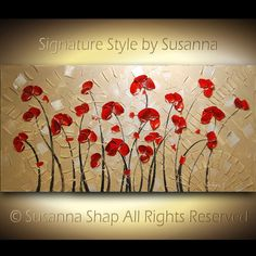 Red Poppies Landscape Painting by Susanna Shap