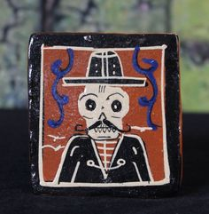 Small Tile Dias de los Muertos Man & Mustache Skeleton Tonala Mexican Folk Art