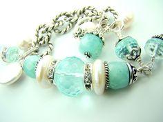Aquamarine bracelet aquamarine birthstone chunky by strandsofgrace, $49.00