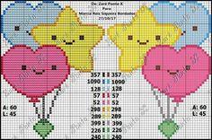 Lindos para crianca Cross Stitch For Kids, Cross Stitch Heart, Cross Stitch Cards, Cute Cross Stitch, Cross Stitch Alphabet, Cross Stitch Designs, Cross Stitching, Cross Stitch Embroidery, Embroidery Patterns