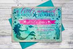 This A little mermaid is about to arrive printable invitation is a lovely way to announce any baby shower for the mermaid mom-to-be! See second photo for colour options, or switch the pink for a custom colour - select Custom Colour variation. **These are DIGITAL FILES - no physical item or envelope included. FILES: The file(s) is high resolution 300 dpi JPG in RGB colour space. After the invitations have been cut they each measure 5x7 and fit into standard A7 envelopes. Invitations are avai...