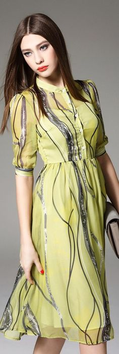 Yellow Stripes Print Puff Sleeves Silk Dress