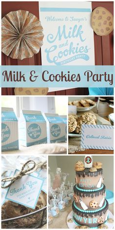 A Milk and Cookies party for a boy birthday with an amazing birthday cake and decorations!  See more party ideas at CatchMyParty.com!