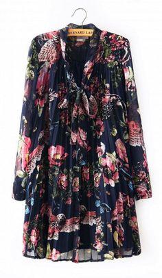 Long Sleeve V-neck Print Floral Pleated Sash Dress
