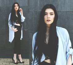 249b44340f00 Holynights Claudia - Sheinside Trench Coat - Pale blue and black