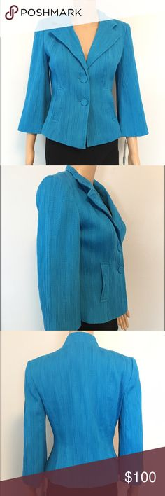 NEW Kay Unger aqua blue two button Blazer Jacket 100% authentic, made in China. New with tags. Color: aqua turquoise blue, material: cotton poly spandex blend, size: 2 Kay Unger Jackets & Coats Blazers