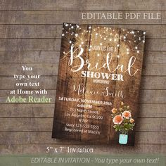 Bridal Shower Invitation Rustic Invite Printable By ByMiniStore