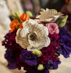 Beautiful Fl Arrangements Accented With Paper Flowers Created Using The Pages Of Harry Potter Books