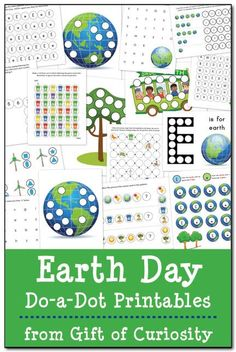 Free Earth Day Do-a-Dot printables. 21 pages of Earth Day themed fun focused on colors, shapes, patterns, numbers, and letters geared toward kids ages 2-5. #EarthDay #DoADot    Gift of Curiosity