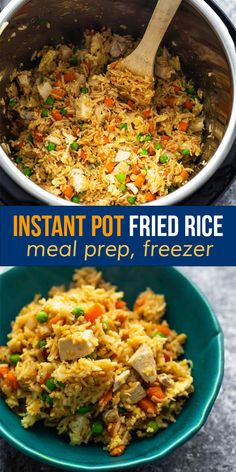 Cook up a batch of Instant Pot fried rice for a quick, easy, and flavorful dinner! With soft scrambled eggs, sesame oil, garlic, soy sauce and chicken it's a crowd pleaser. #sweetpeasandsaffron #mealprep #freezer #instantpot