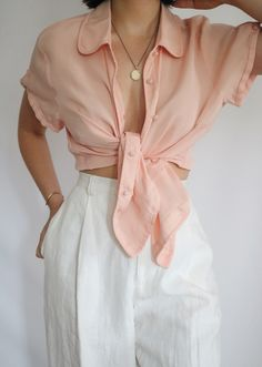 """de5e27f8 Lady L. Vintage Co. on Instagram: """"SOLD Beautiful vintage rose pure silk  sheer blouse. Lovely silk covered buttons and pin tucked details."""