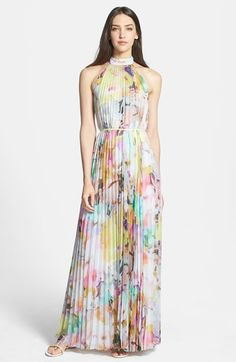 Ted Baker London 'Electric Daydream' Print Pleated Maxi Dress