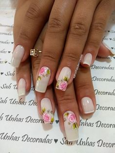 69 fotos de unhas decoradas com rosas beleza e unhas ногти e дизайн. Manicure And Pedicure, Gel Nails, Acryl Nails, Colorful Nail Designs, Spring Nails, Nail Colors, Nail Art, Beauty, Shapes
