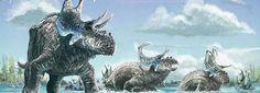 Vue d'artiste de Machairoceratops cronusi, qui vivait il y a 77 millions d'années dans l'actuel état de l'Utah aux États-Unis.
