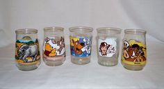 Vintage Lot of 5 Welch's & Bama Jelly Jar Glasses Disney Pooh Scooby Doo Simba #WelchsBama