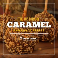 """While candy and caramel apples may appear pretty similar, they have distinct histories. Let's compare them, """"apples to apples. Caramel Candy, Caramel Apples, Concession Food, Fairs And Festivals, Candy Apples, Candy Shop, Food Truck, Good Food, Treats"""