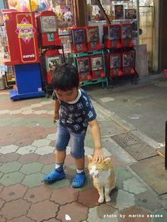 Kid & cat. Tateishi, Tokyo 2013. 立石 Photo by SATAKE Mariko. 佐竹茉莉子 #alley #cats #Japan #Tokyo