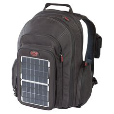 Offgrid Solar Backpack by Voltaic Systems. This versatile solar backpack is outfitted with a 4-watt solar panel and USB battery for powering your electronic handhelds. The solar panel is removable—and attachable to a bike rack or another bag—for leaving in the sun any way you like: One hour of exposure gets you three hours of talk time, while seven will fully charge your battery for 19 hours of talking or 2 days of music. Fashioned from PET fabric.