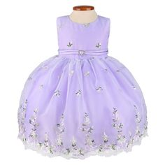Lilac Floral Embroidered Organza Baby Dress