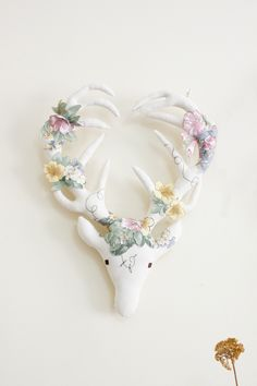 Mr Stag appliqué garden with brown eyes. by A Wooden Tree  As seen on madefromscotland.com