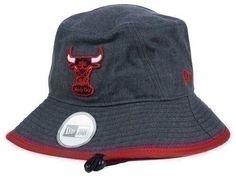 Chicago Bulls Era NBA HWC Graphite Heather Red Trim Bucket Hat Cap Large  da98c4328dee