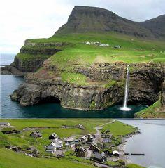 Gásadalur - a village on the Vágar island, Faroe Islands. Click to Watch http://destinations-for-travelers.blogspot.com.br/2014/07/gasadalur-vagar-faroe-islands.html