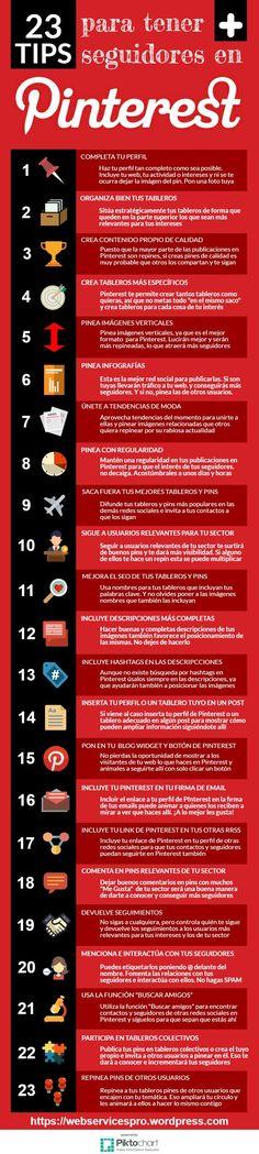 23 consejos para conseguir más seguidores en Pinterest #infografía