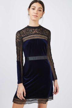 Velvet Lace Trim Aline Dress - Topshop USA