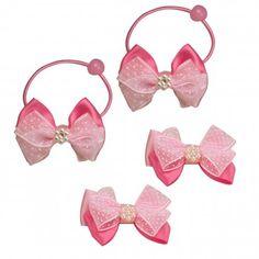 Triple Ribbon Bow Polka Dots Faux Pearl Flower Girls Ponytail Holder Hair Pin Set (4 Pcs)