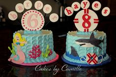 Matching mermaid and shark  birthday cakes for co-ed party