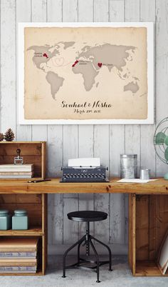 Travel Canvas Wedding Map Guest Book.  Perfect for travel weddings! MissDesignBerryInc will customize this rustic canvas world map wedding guest book alternative to feature any states or countries and cities that you like, connected all your locations with a cute dotted line!  Click for even more ideas.