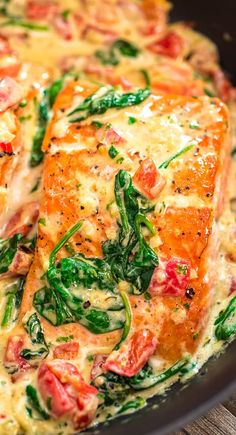 4 Points About Vintage And Standard Elizabethan Cooking Recipes! This Salmon In Roasted Pepper Sauce Makes An Absolutely Scrumptious Meal, Worthy Of A Special Occasion. Make This Easy One-Pan Dinner In Just 20 Minutes Baked Salmon Recipes, Fish Recipes, Seafood Recipes, Dinner Recipes, Cooking Recipes, Healthy Recipes, Salmon Spinach Recipes, Flour Recipes, Bread Recipes