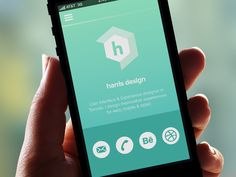 Harris Design Mobile #Website | #UI Design with #Pictogram Icons for Contact Links