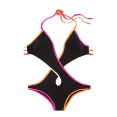 Deep Criss Crossed Contrasting Monokini