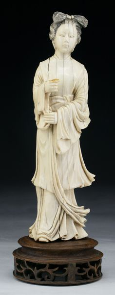 """A Chinese 18th C. Antique Carved Ivory Beauty  Dimensions: H: 9"""""""
