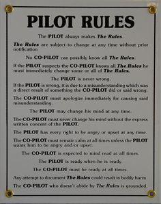 Pilot Rules Vintage Metal Sign   Fallon Aviation Pilot Shop