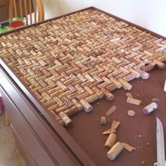 Wine cork counter top in a herringbone pattern.
