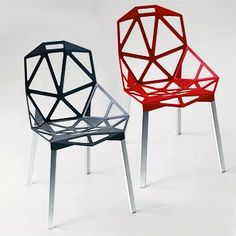 Magis Chair One designed by Konstantin Grcic. It took him  3years and numerous test castings to get the strength and design right for manufacture. It is a huge one piece casting and these two look like they are powder coated rather than anodised.