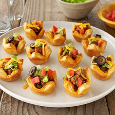 Party Taco Cups by Puff Pastry.  Perfect for game day or Monday night football!