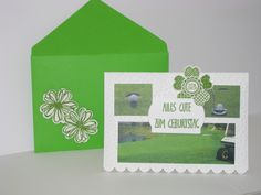 Geburtstagskarte für einen Golf Liebhaber ;-),  Framelits Big Shot, Folder Dots, Geburtstagsallerlei, Stampin'up, Pansy Punch, Flower Shop, Adorning Accents Edgelits Die, Envelope Punch Board