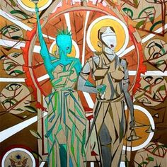 """Artist: Joey DeRuy.  """"The Wedding"""":  A stylized play on political cartoons in which Lady Liberty is walking down the aisle with Lady Justice.  The medium is metallic paint on wood, with the hard metals representing the adversity that gays have faced both politically and legally over the last century, and the exposed wood representing the raw naturalness of love. Halos of white and gold for the innocence and purity of spiritualism in what ever form one chooses."""
